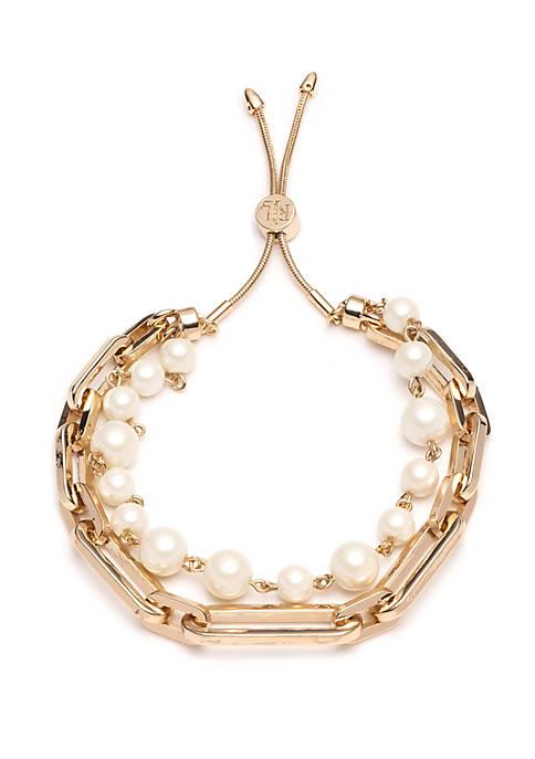 Gold-Tone 2-Row Pearl Link Bracelet