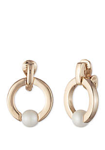 Gold-Tone Pearl Doorknocker Hoop Clip Earrings