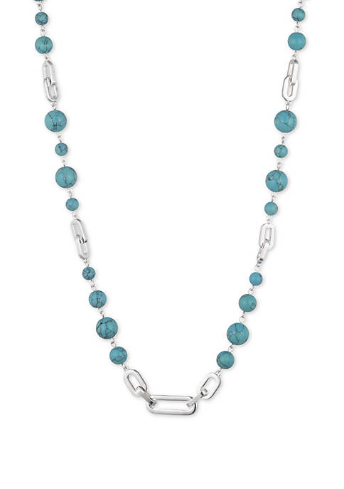 Silver-Tone Turquoise Beaded Collar Necklace