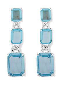 Lauren Silver Tone Kensington Aqua Link Drop Earrings