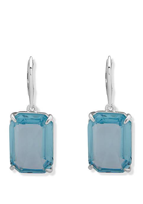 Silver Tone Aqua Stone Drop Earrings