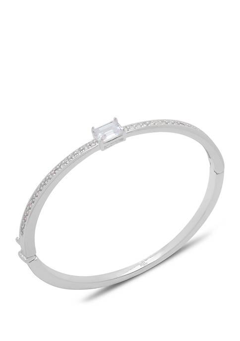 Silver Tone Cubic Zirconia Hinge Bangle Bracelet
