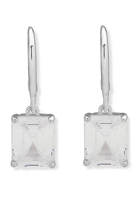 Silver Tone Cubic Zirconia Lever Back Earrings