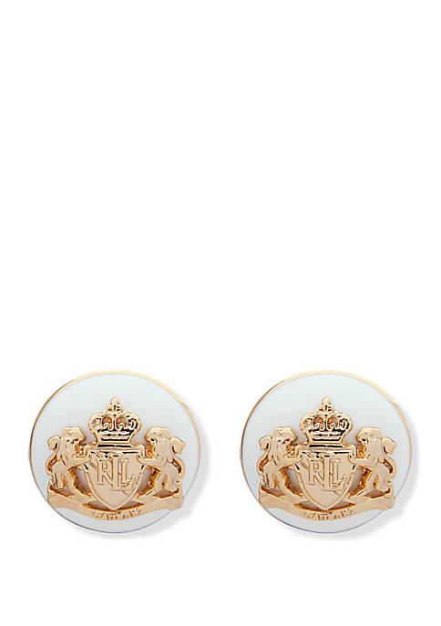 Gold Tone Leeds White Enamel Crest Stud Earrings