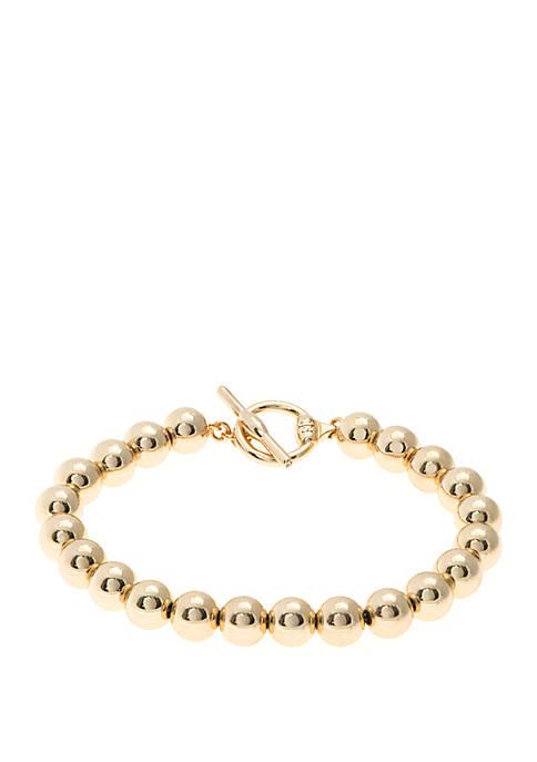 Gold-Tone Bead Flex Bracelet