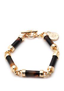 Lauren Gold Tone And Tortoise Barrel Link Toggle Bracelet