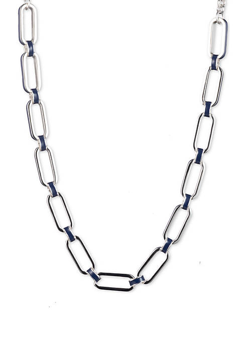 Silver Tone And Navy Link Collar Necklace