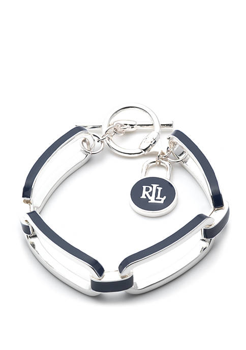 Lauren Silver Tone And Navy Open Link Toggle