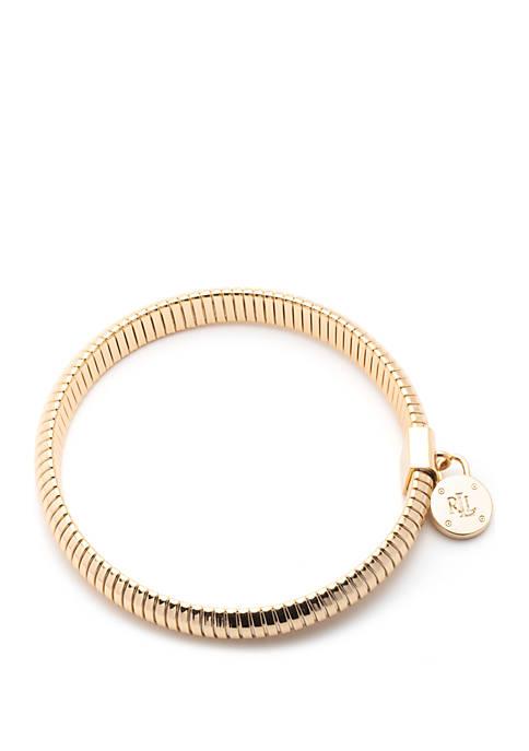 Lauren Gold Tone Omega Padlock Stretch Bracelet