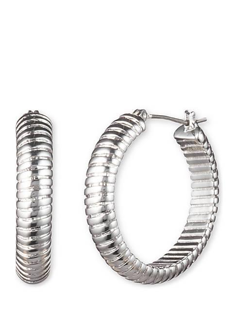 Lauren Textured Medium Click Top Hoop Earrings