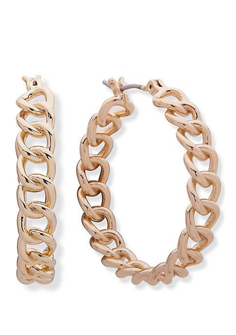 Lauren Gold Tone Chain Click Top Hoop Earrings