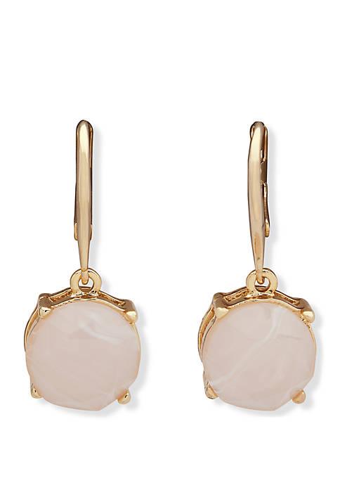 Gold Tone And Rose Quartz Stone Drop Earrings