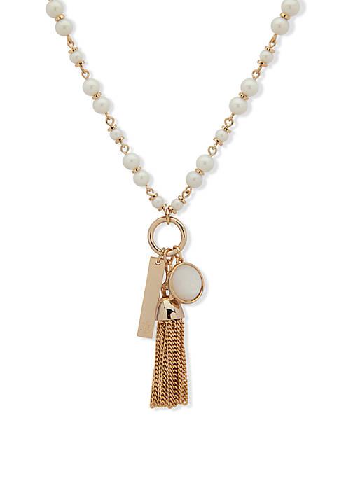 Lauren Gold Pearl Pendant Charm Necklace