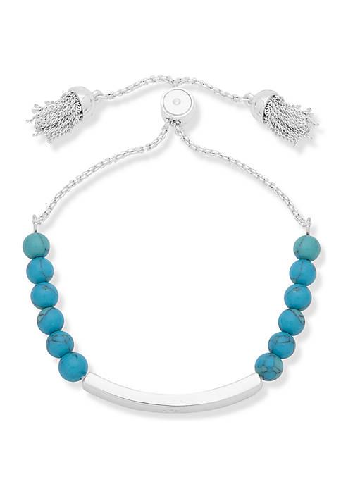 Silver Tone Beaded Slider Bracelet