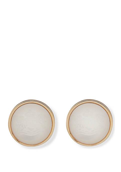 Lauren Gold Tone Crest Stud Earrings