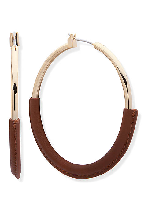 Gold Tone and Cognac Leather Wrapped Click Top Hoop Earrings