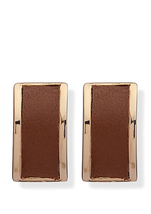 Lauren Gold Tone Leather Small Button Earrings