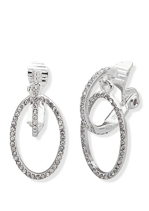 Lauren Silver Tone Pave Crystal Hoop Earrings