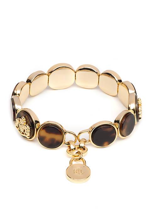 Lauren Gold Tone and Tortoise Crest Stretch Bracelet