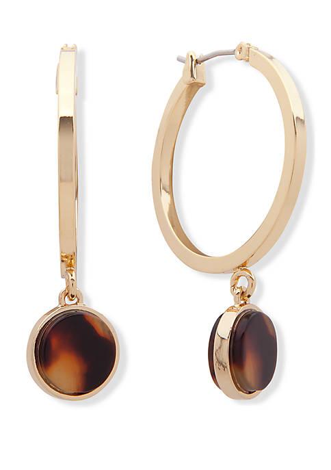 Gold Tone and Tortoise 28 mm Drop Hoop Earrings