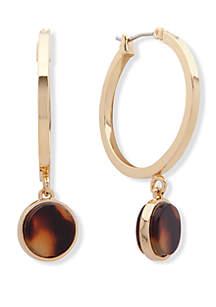 Lauren Gold Tone and Tortoise 28 mm Drop Hoop Earrings