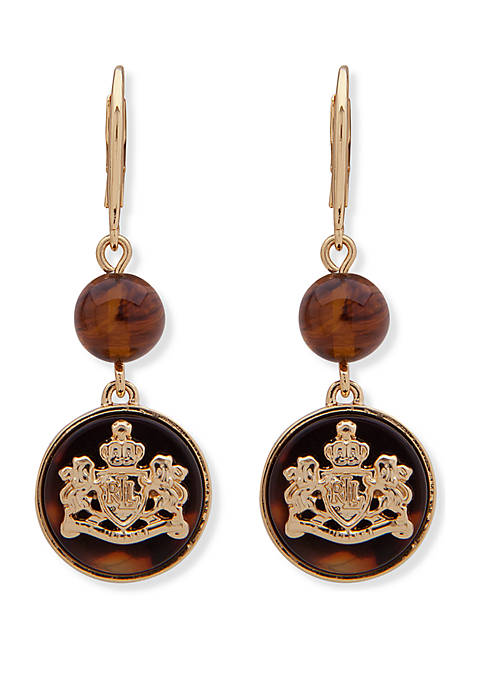 Gold Tone and Tortoise Crest Double Drop Lever Back Earrings