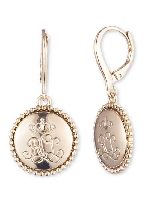 Lauren Gold Tone Lever Back Logo Drop Earrings