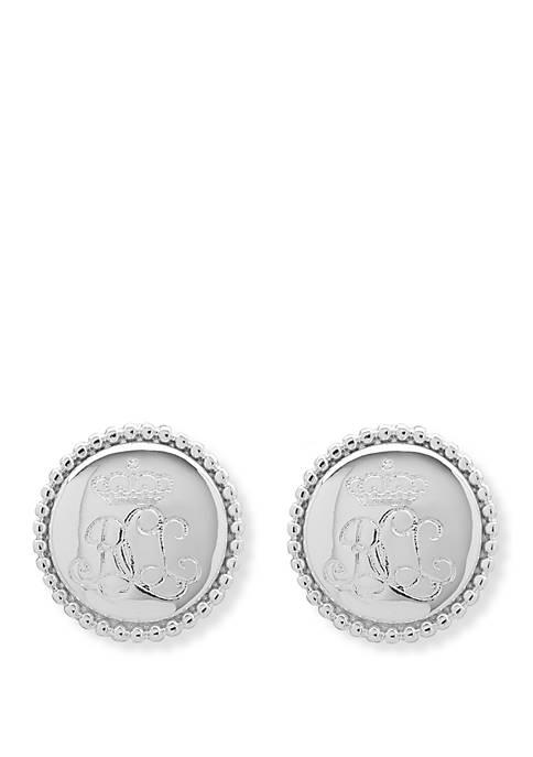 Silver Tone Logo Stud Earrings