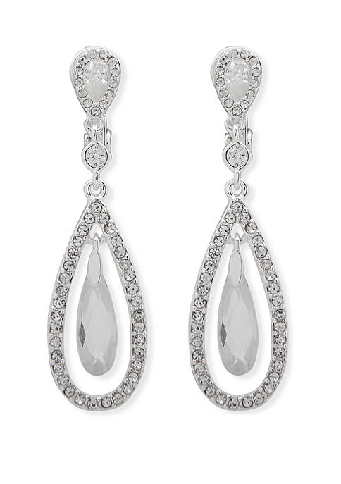 Silver Tone and Crystal Pave EZ Comfort Clip Orbital Drop Earrings