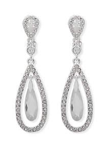 Lauren Silver Tone and Crystal Pave EZ Comfort Clip Orbital Drop Earrings