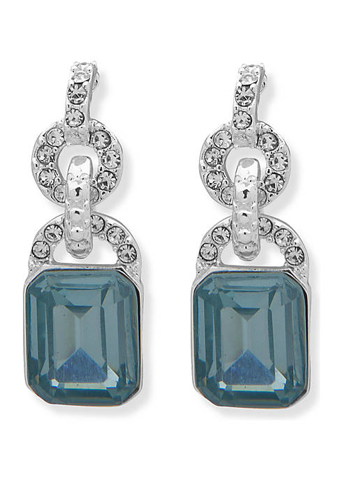 Lauren Silver Tone and Aqua Stone Drop Earrings
