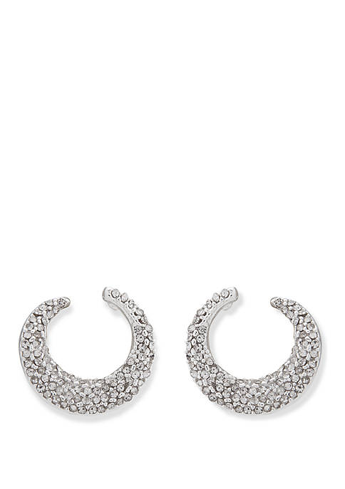 Silver Tone and Crystal Pave Front Back Hoop Earrings