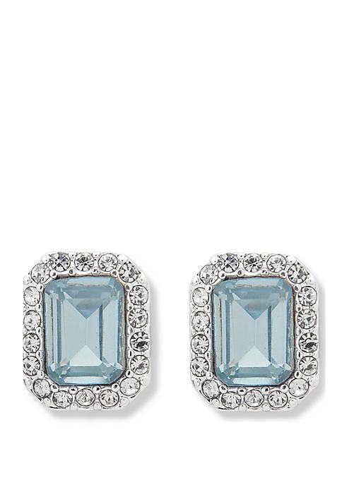 Lauren Silver Tone and Aqua Stone Stud Earrings