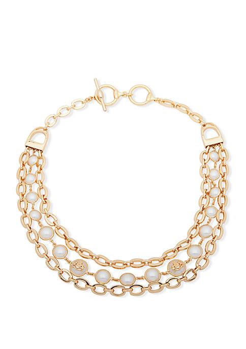 Lauren Gold Tone Pearl Crest Drama Collar Necklace