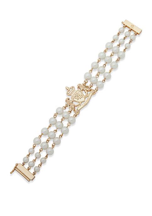Lauren Gold Tone and Multi Row Flex Bracelet