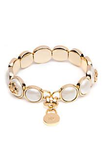 Lauren Gold Tone Pearl Crest Stretch Bracelet