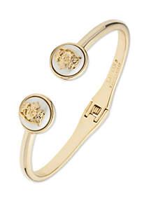 Lauren Gold Tone Crest Hinge Cuff Bracelet
