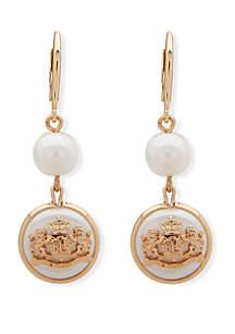 Lauren Gold Tone and Pearl Crest Double Drop