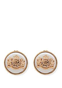 Lauren Gold Tone Pearl Crest EZ Comfort Clip Button Earrings