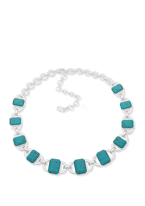 Lauren Silver Tone and Turquoise Stone Collar Necklace