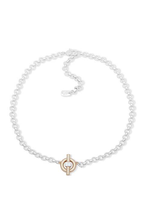 Lauren Two Tone Circle Pendant Necklace