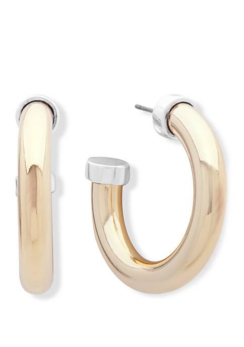 Lauren Two Tone Click Top Hoop Earrings