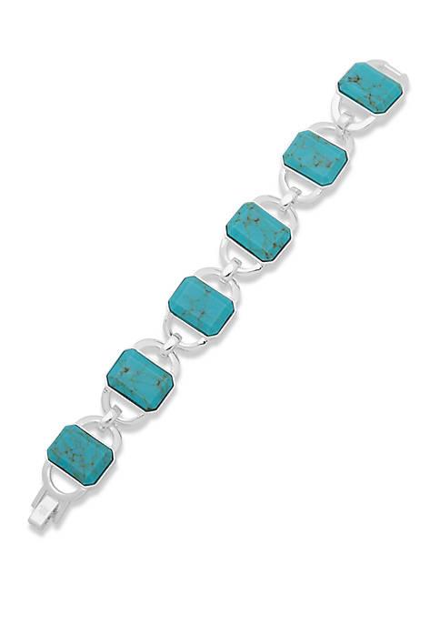 Silver Tone and Turquoise Stone Flex Bracelet