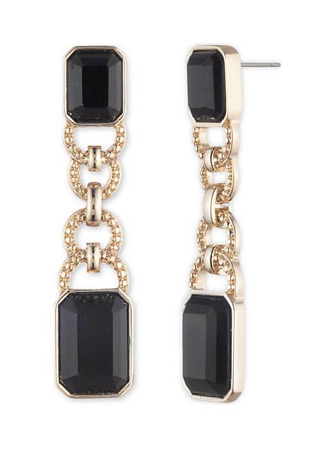 Lauren Gold Tone Jet Post Drop Earrings