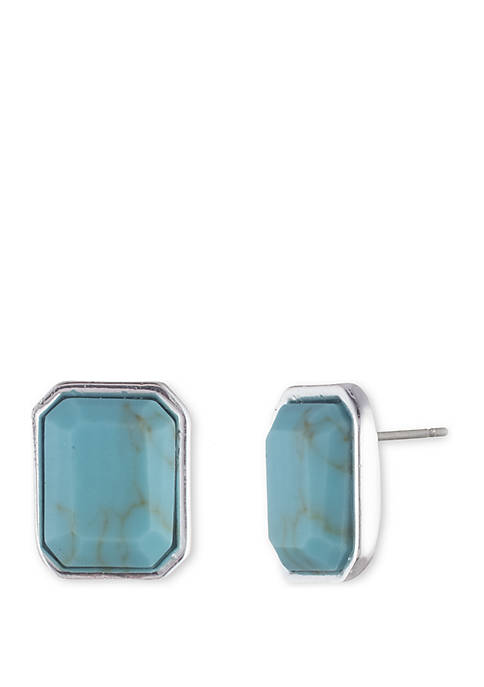 Lauren Silver Tone and Turquoise Stone Stud Earrings