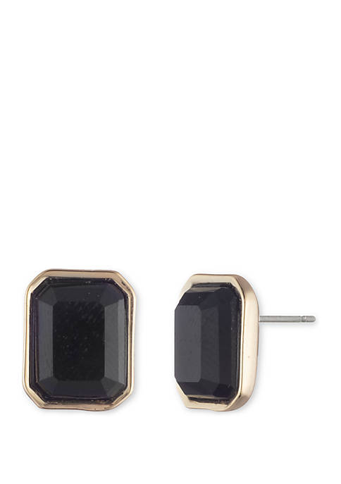 Lauren Gold Tone and Jet Stone Stud Earrings