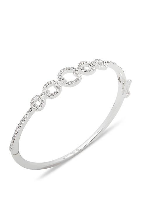 Lauren Silver Tone And Crystal Pave Bangle Bracelet