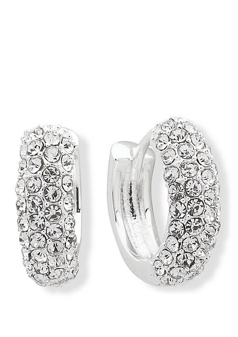 Lauren Silver Tone Crystal and White Pave Huggie