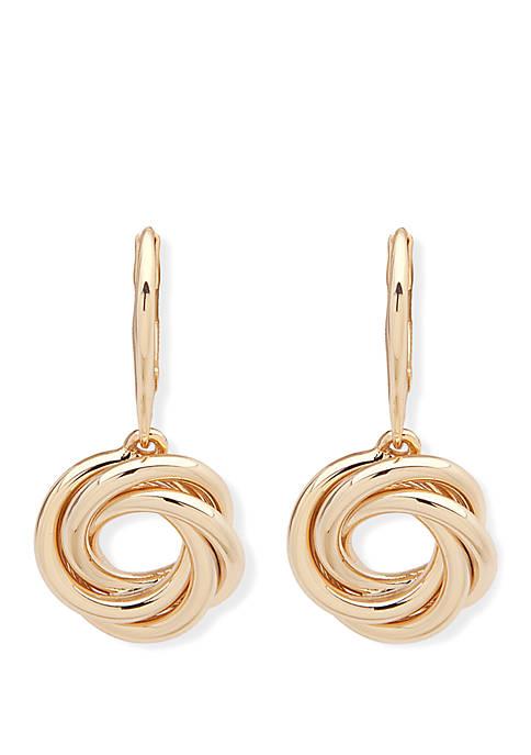 Gold Tone Knot Drop Earrings