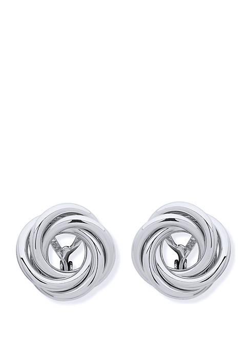 Lauren Silver Tone Knot Stud EZ Comfort Clip